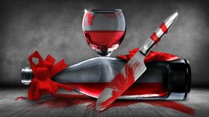 Still life: wine glass, wine bottle, bloody knife.