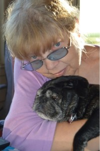 Author Jean Rabe with her pug, Mr. Wrinkles